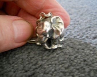 Vintage silver elephant key fob and clip