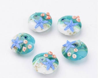 12 pcs Glass Lampwork Beads - Ocean Starfish
