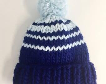Chunky Knitted Beanie Hat + Pom Pom (100% Wool) - Blue Waterfall