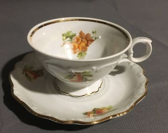 Vintage Bavaria Schuman Arzberg Germany Tea Cup and Saucer Grapes (main) Strawberry and Apple w/ Gold Trim