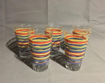 Vintage Set of 5 Libbey Glass Mambo Fiesta Stripes Multicolored 16 oz Tumblers Cups Glasses