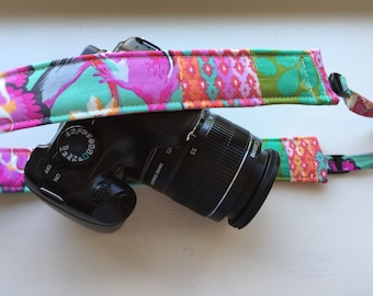 """Ready to Ship Padded Camera Strap for DSLR Digital Canon Rebel Cotton 1.5"""" Slim Profile Adjustable Replacement Patchwork OOAK #203"""
