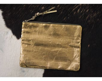 Gold snake leather clutch, evening bag , gold oversized clutch PIA
