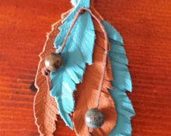 """6.5"""" Leather Feathers Bag/Purse Charm, Clip On, Turquoise, Brown, Zipper Pull, Car Charm. Free Shipping!"""