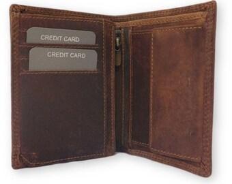 Genuine leather men's bifold coin wallet vintage brown