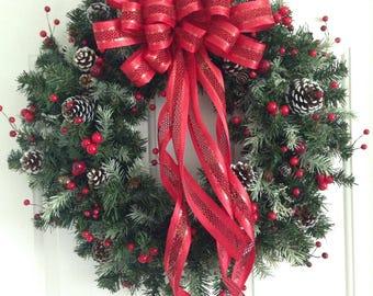 Christmas Wreath | Red Wreath | Pinecones