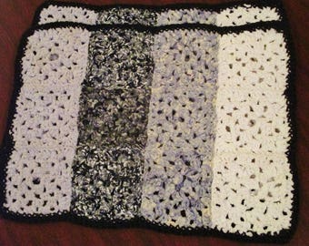 Set of 2 Unique Crocheted Fabric Placemats