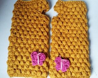 Crochet mittens | crocheted fingerless gloves