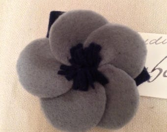 Lovely felt grey and navy blue flower brooch