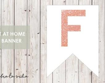 DIY Banner - 'F'. Instant Download. Printable Banner Letters. Pink Glitter. - 01