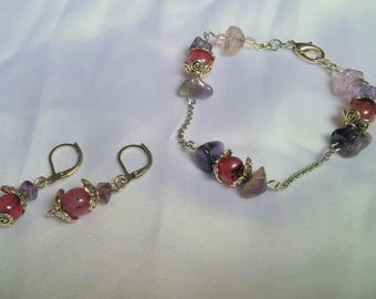 BRACELET and EARRINGS, agate and Amethyst