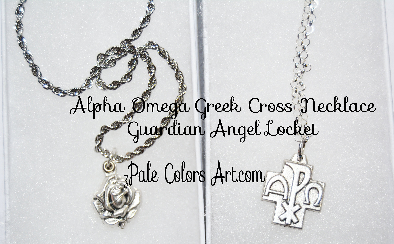 Greek cross necklace alpha omega guardian angel locket necklace mozeypictures Gallery