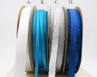 Blue and Silver Ribbon. By the Roll. Holiday Ribbon. Gift Wrap. Gift Basket Ribbon. Favor Bag Ribbon