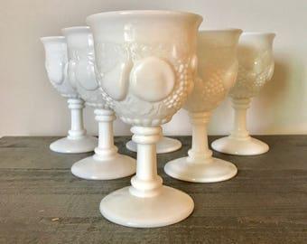 set of 6 milk glass wine goblets, fruit design white goblets