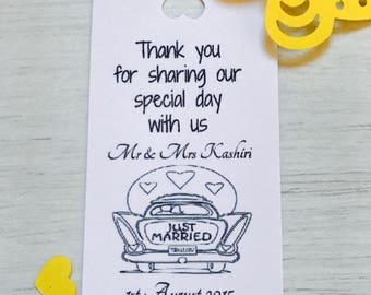 personalised wedding thank you tags (just married car)