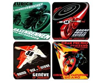 High Quality Cork Swiss Motorcycle Grand Prix Drinks Coasters Set Of 4 Art Deco Vintage Poster Motorbike Biker Classic Advertising Bike Gift