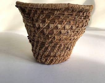 Vintage Native American Pine Needle Basket, Small Coiled Basket