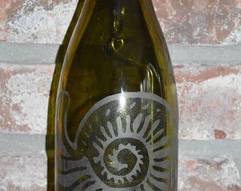 Nautilus Shell ~ Sand-etched Green Wine Bottle Lantern