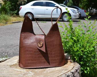 Brown Leather Tote Bag, Distressed Leather Tote Bag, Women Handbag, Shoulder Bag, Tote Handbag, Leather Tote Bag.