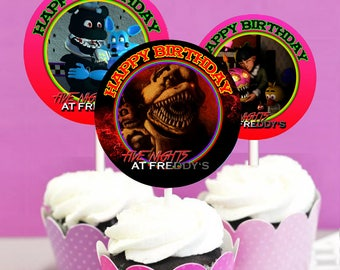 12 Five Nights at Freddy's Birthday Cupcake Toppers Set #2