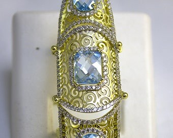 Gold ring for the entire length of the finger 14K with topaz, Ring size 8