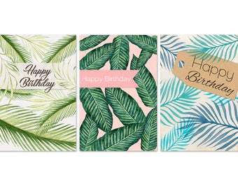 3 birthday cards set / / tropical palm leaves