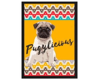 A4 PRINT / / Pug Pug ethnic boho / / poem cottage