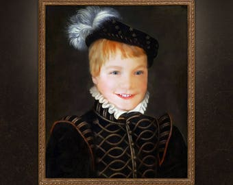 Boy Portrait, Kid Victorian Portrait, Child Painting, Custom digital painting from your photo!