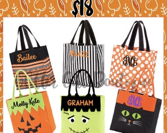 Personalized Halloween Totes   Totes for Halloween   Trick Or Treat Basket   Halloween Basket   Halloween Bag   Candy Bag   Halloween Tote