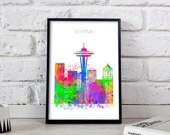Seattle print Seattle Watercolor decor Seattle poster Seattle Skyline Watercolor Space Needle poster Seattle art Gift poster
