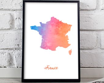 France print France poster France art Watercolor France Map poster wall art France wall decor Gift poster