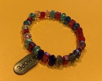 Multicolored Crystal Bracelet/w Charm