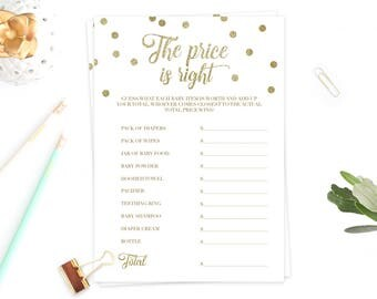 The Price is Right Baby Shower Game Printable Instant Download Baby Shower Games Gold Confetti White and Gold Baby Shower Activity DIY GCO