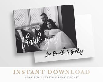Thank you Card | Printable Photo Wedding Thank you Card | Thank you | templett instant download | Thank you printable