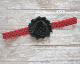 Ladybug headband, red and black headband, ladybug hair, ladybug birthday, ladybug party, red and black polka dots, ladybug bow