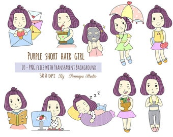 Purple short hair girl clipart, digital planner clipart, instant download