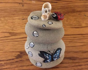Mini Painted Rock Sculture