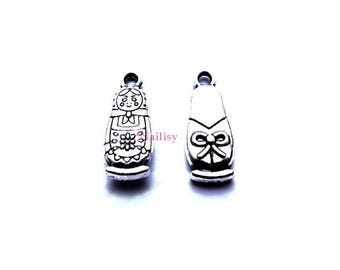 Set of 15 REF153X3 silver Russian doll charms