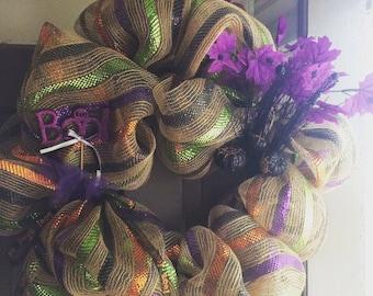 Colorful halloween Boo wreath