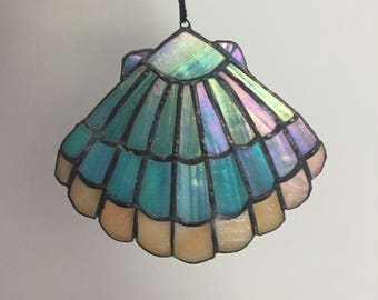 Iridescent stained glass shell
