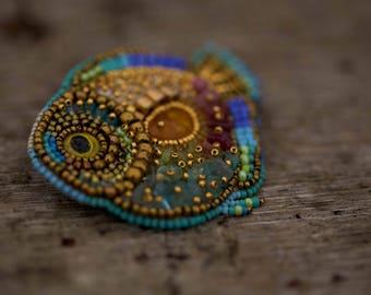 Handmade broosh....beads, gold thread, stones