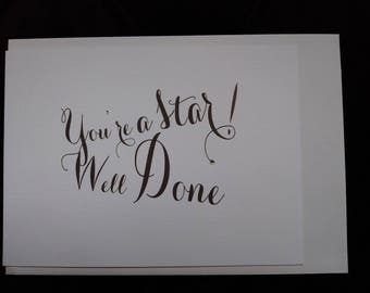 Inspirational, motivational card - You're A Star Well Done! Swarovski finished.