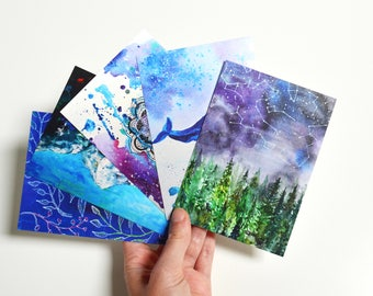 handmade blank card art print postcard oil painting print original paper illustration blue nature print postcard set gift travel art card