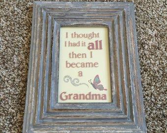 Became a Grandma - Handmade vinyl and paper framed decor