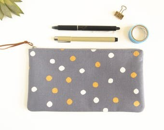 Pencil Case, Polka Dots Zipper Pouch, Flat Zipper Bag, Makeup Brush Holder, Eye Glass Case, Stationery Organizer, Small Cosmetic Pouch