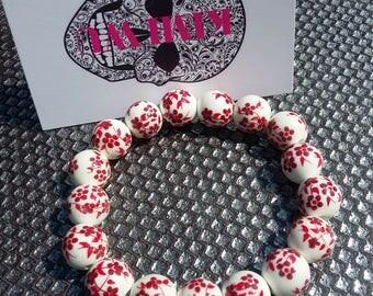 Blossom ceramic bead bracelet boho punk