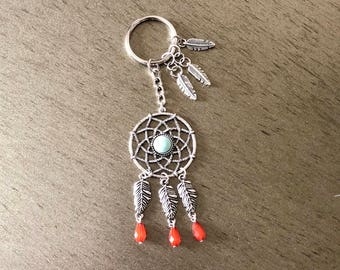 Dreamcatcher with turquoise stone center keychain