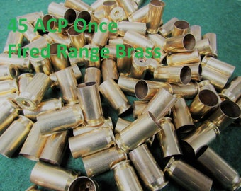 45 ACP Once Fired Indoor Range Brass. Sized, Cleaned and Deprimed