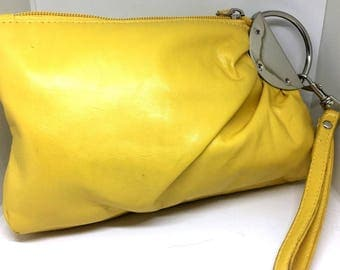 Vintage Totally 80's Yellow Clutch Bag with Zipper