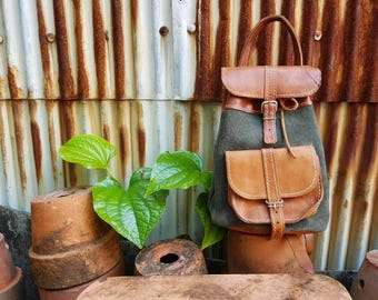 Small cute leather suede backpack bag
